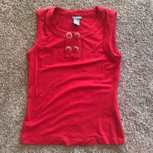 Cute red button tank by Ann Taylor XS